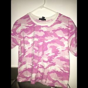 Pink and white short sleeve camo